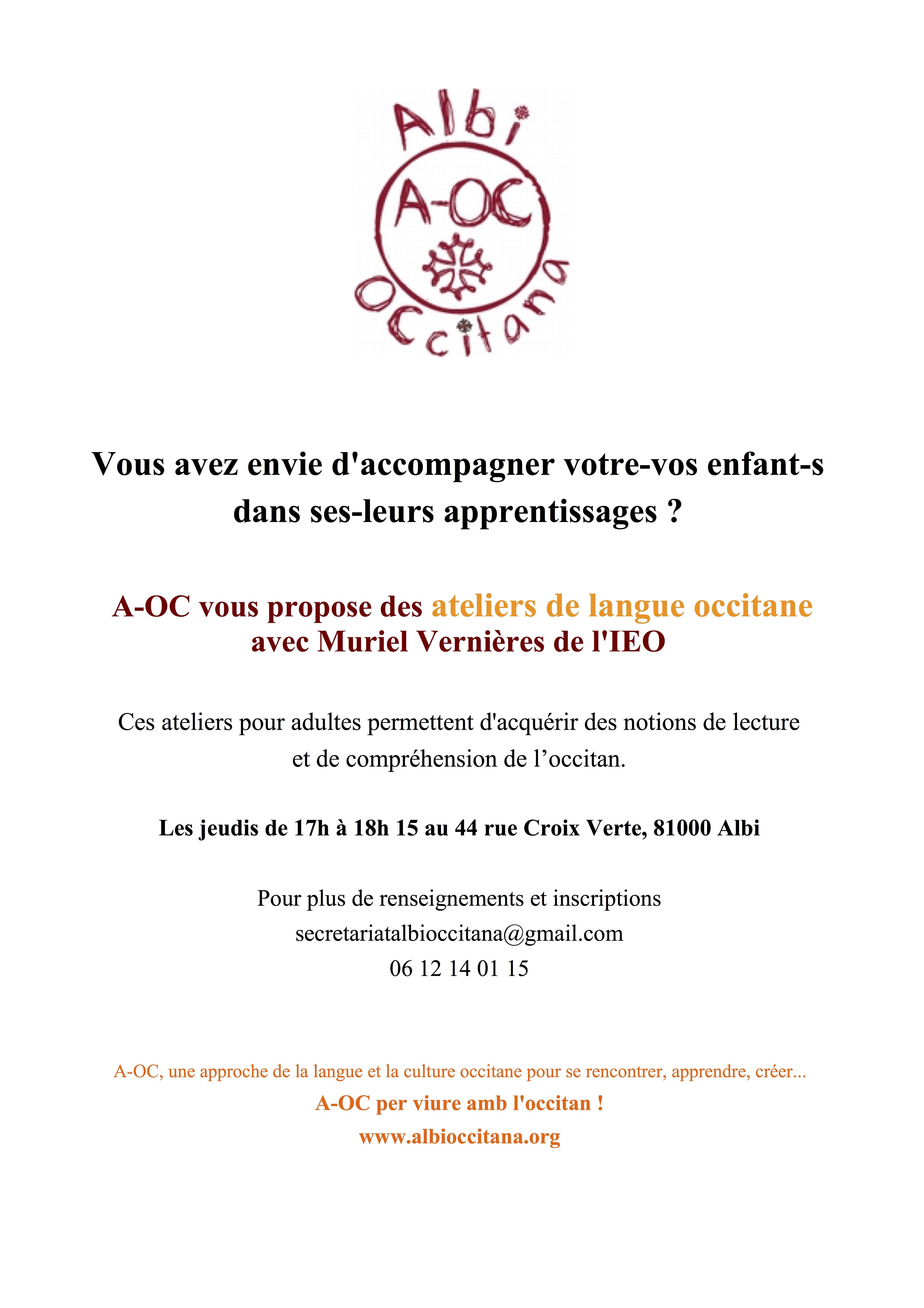 Ateliers de langue occitane pour adultes 2019-20