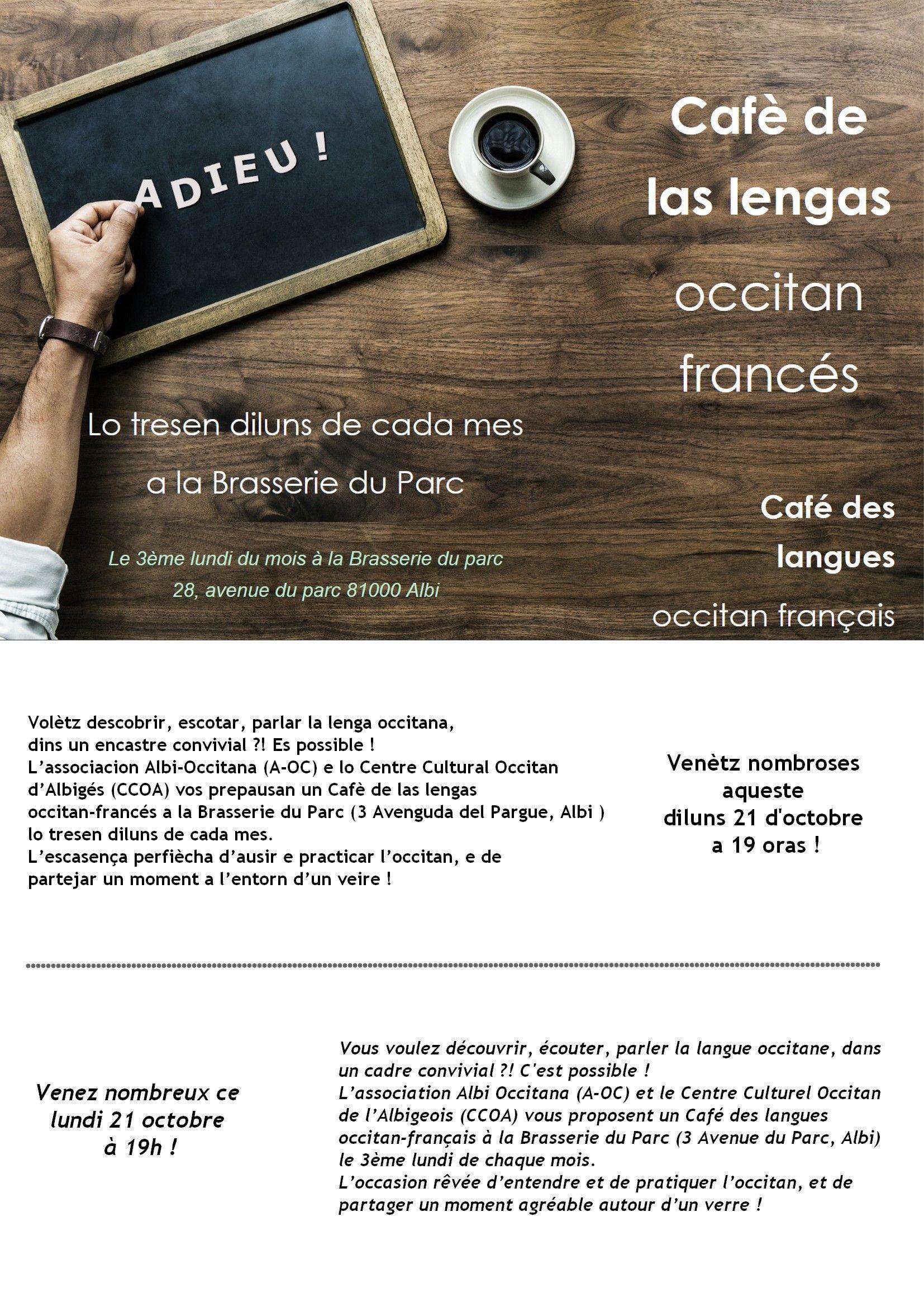 Cafè de las lengas francès/occitan 21 d'octobre