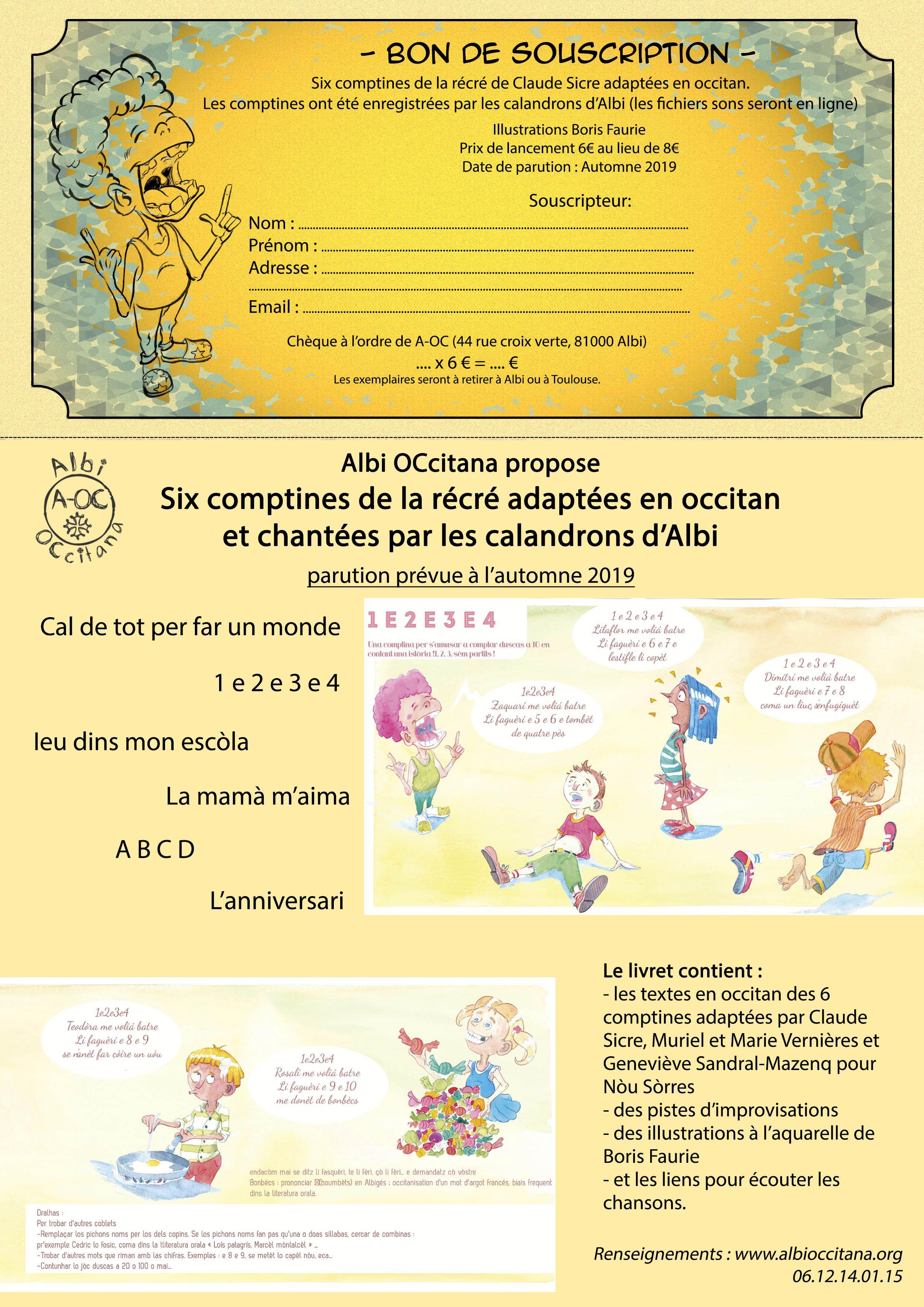 Bon de Souscription pour les Comptines de la Récré en Occitan