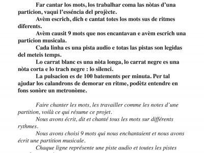 Partition musicale créée par les cycles 3 de la Calandreta d'Albi ©